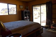 Bedroom with views out to the boulder pile