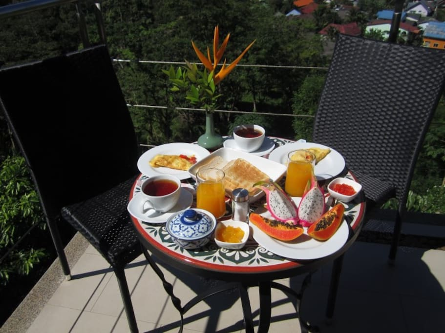 Optional fresh breakfast served on your private terrace, with eggs, toast, fresh fruits, self-made jam, juice and coffee or tea (150 baht/person extra).
