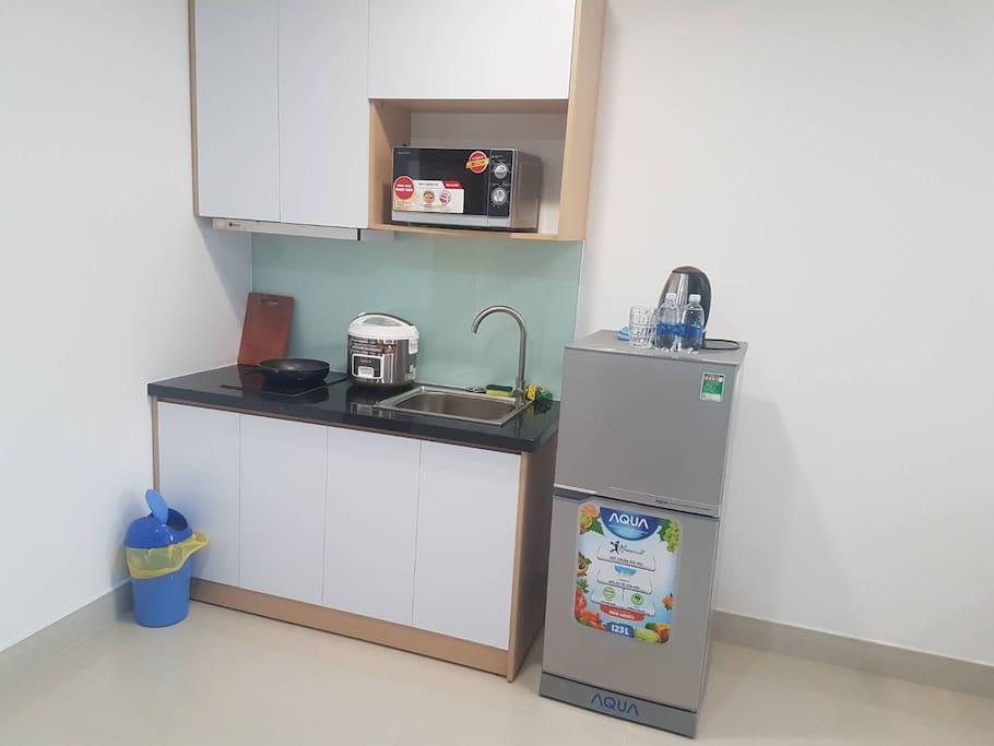 每間房型都有付設小廚房設備
