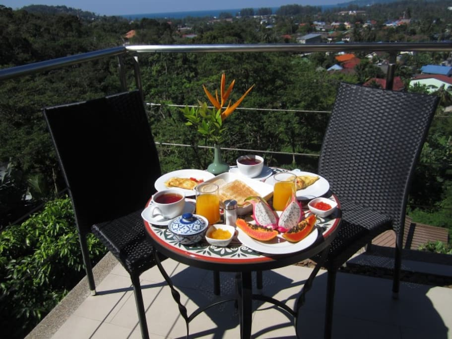 Optional breakfast served on your private seaview terrace, with eggs, toast, fresh fruits, juice and coffee or tea (150 baht/person extra).