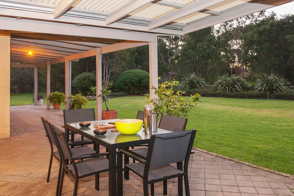 Outdoor dining on front deck
