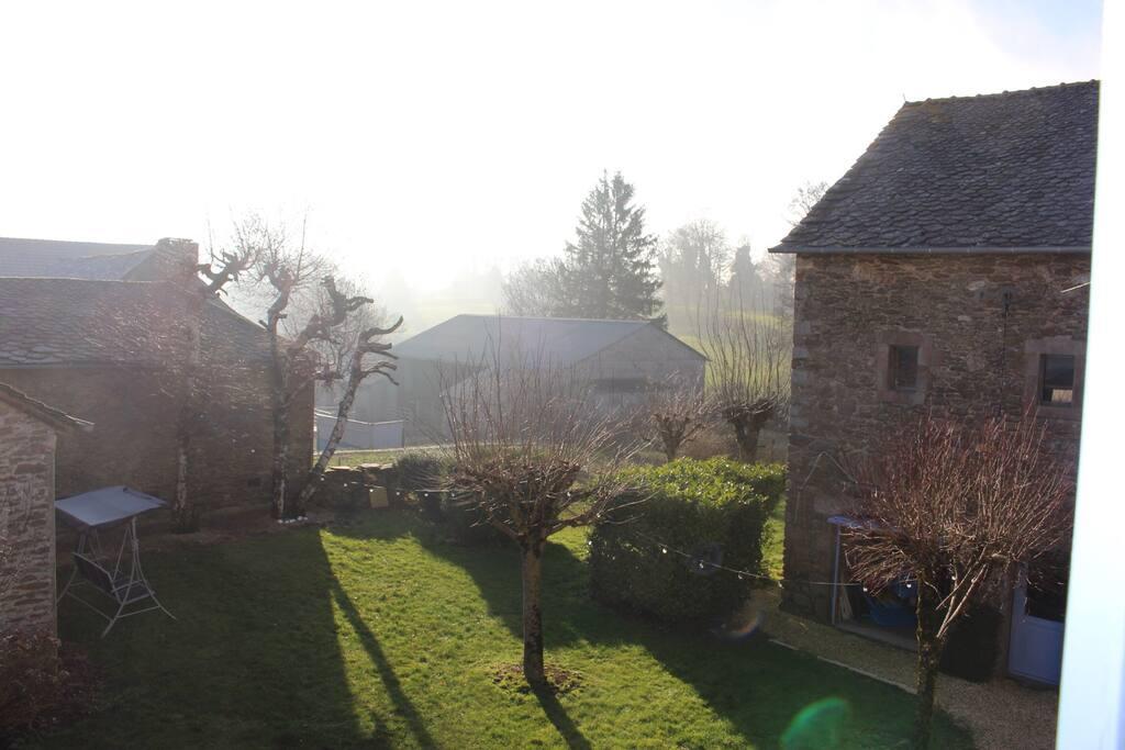 View from bedroom on garden