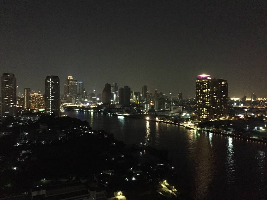 Night view from room balcony.