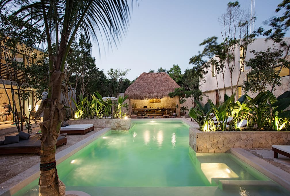 Zen pool has a meditation, yoga and relaxation palapa