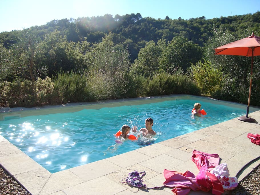 This picture shows the swimming pool and the natural surroundings