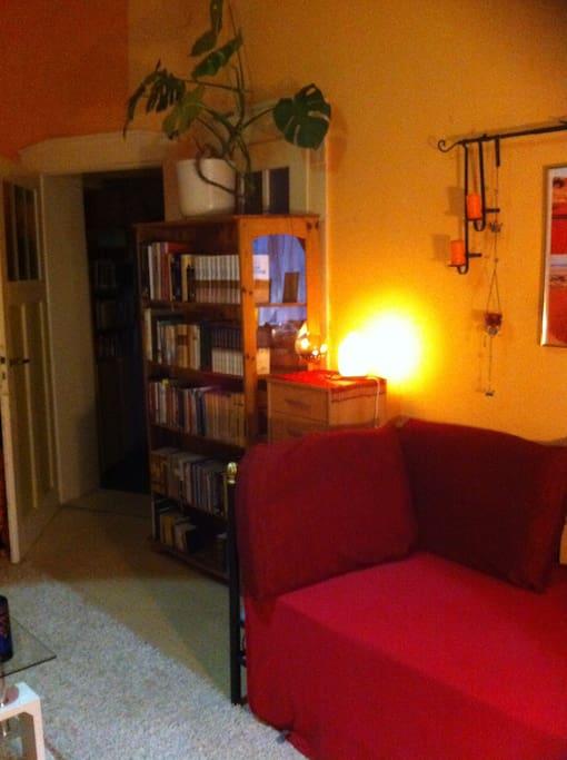 Doppelzimmer mit Bücherregal und Salzkristalllampe
