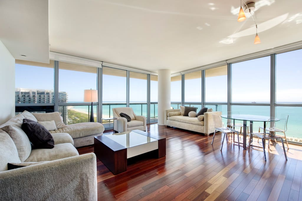 Living room with direct ocean view
