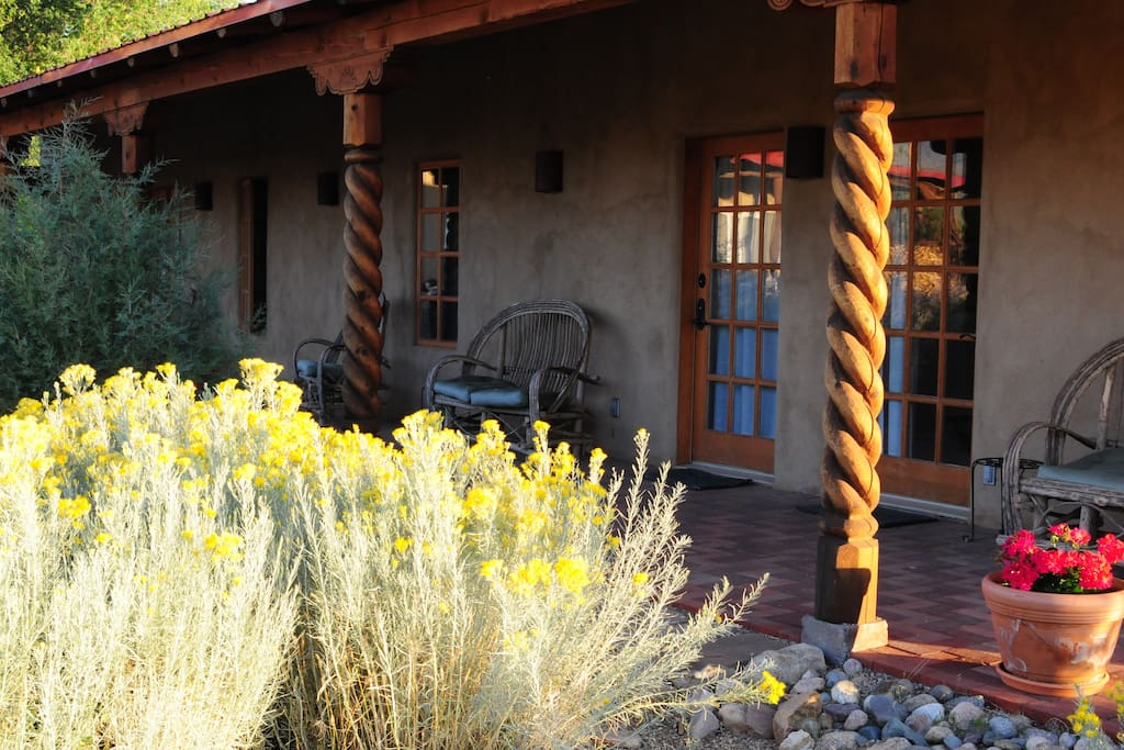 Enjoy a wonderful  the view of Taos Mountain from your porch