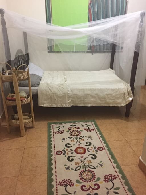 The master bedroom has a full size bed, ample closet space and its own bathroom.