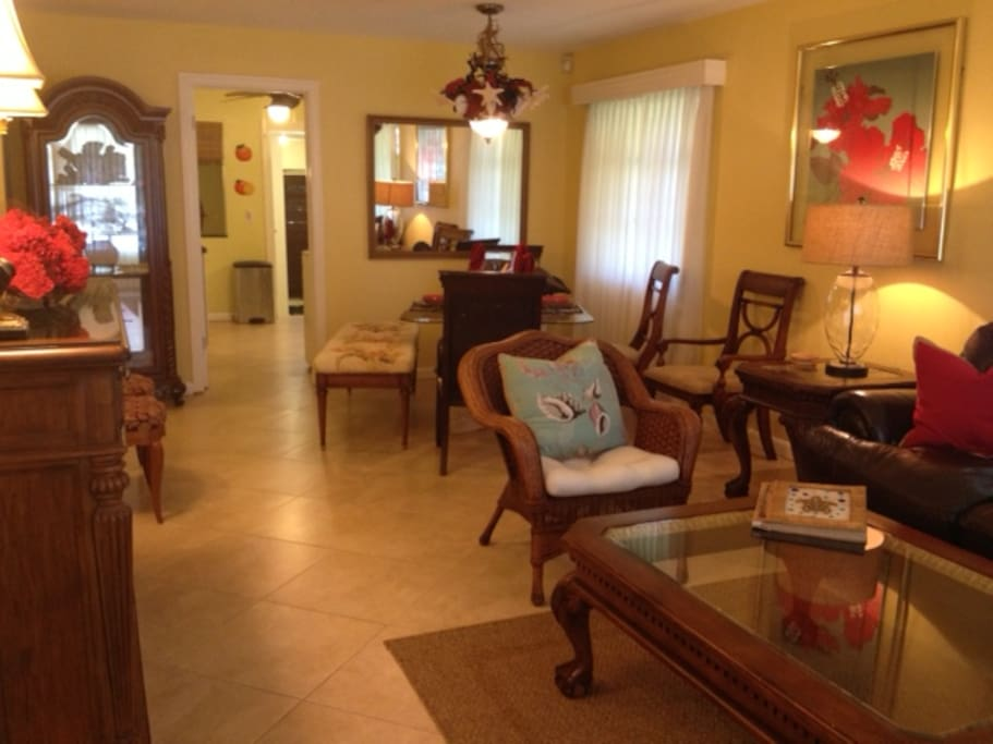 View as you enter Coralcopia's front door.  Formal living & dining area leading to kitchen.