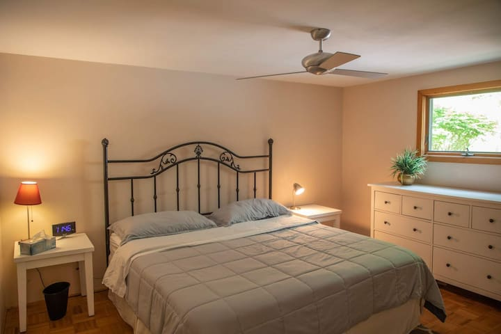 Downstairs bedroom #1 with king size bed.