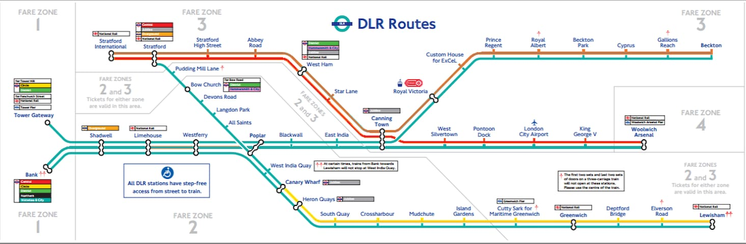 Docklands Light Rail (DLR) Map (15mins to Canary Wharf, 25mins to Bank/City Centre)