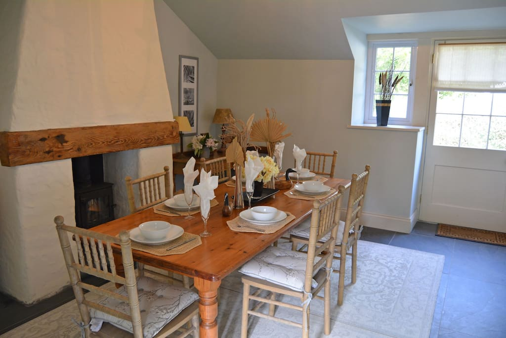 Ground floor: Entrance dining hall with wood burning stove