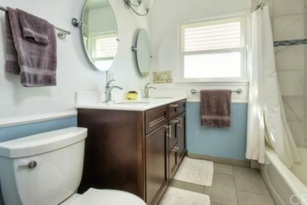Second bathroom with tub & shower.