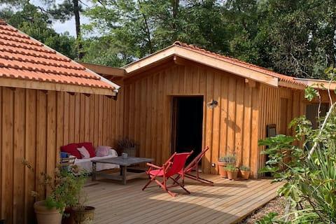 cabane cosy à 2 pas du bassin- 44 hectares,