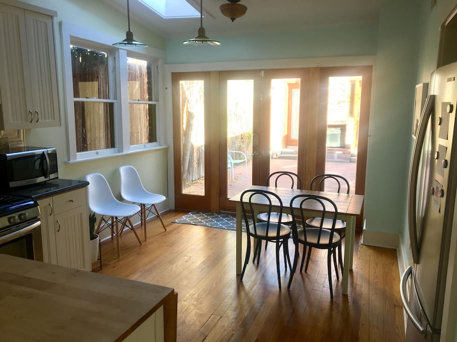French doors from kitchen leading to private outdoor patio