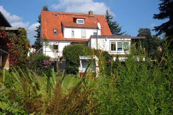 Large apartment on the southern slope of the Knüllgebirge and large garden