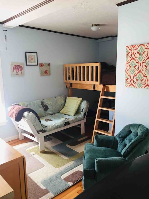 Sitting and sleeping options (loft bed)