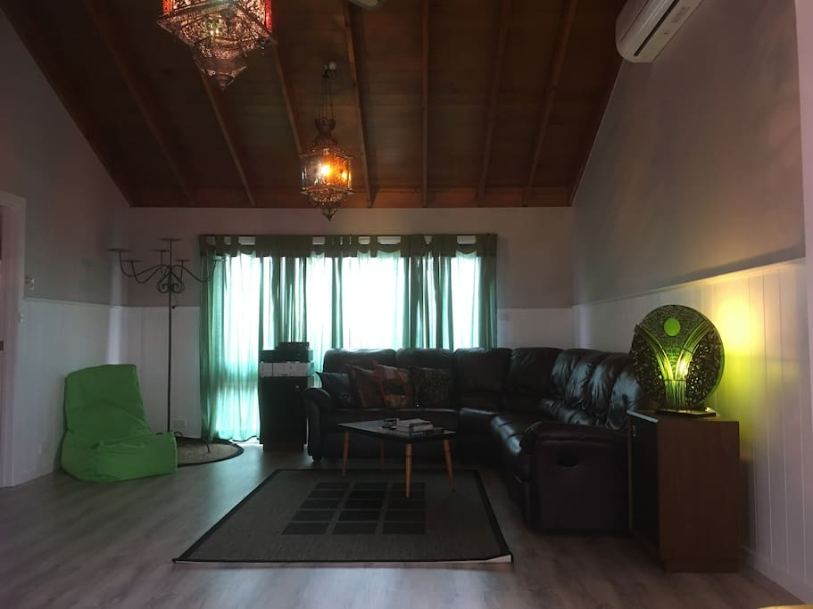 Spacious living area, shared with other Airbnb guests.