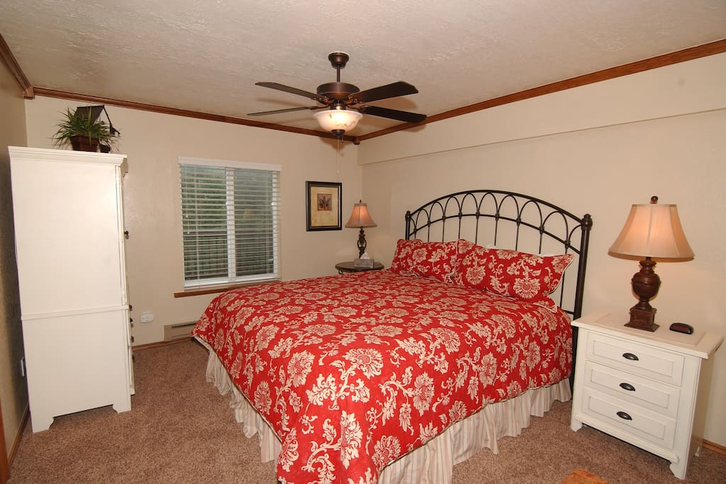 Private bedroom with King Size Bed and private full bathroom.  Forest Views.