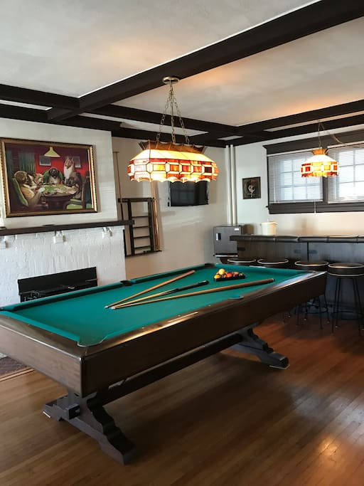 Game Room with Bar and Fireplace