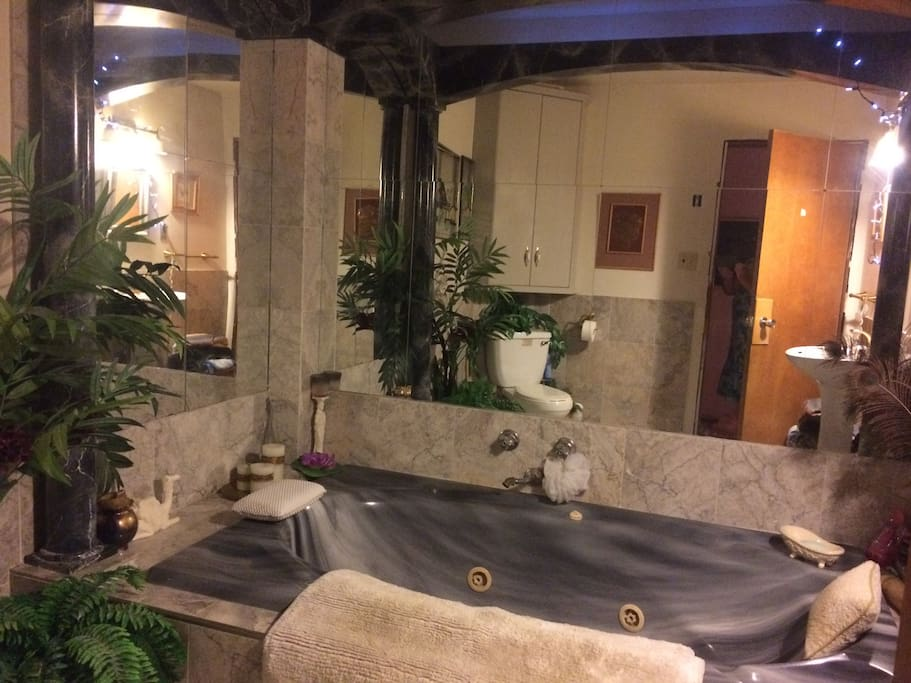 """Enjoy the """"Sweet Spirit Spa"""" in our Queen Esther Bathroom upstairs $10 extra, upon time arrangement; variety of treatments are available for a reasonable fee; head, neck and shoulder massage; foot bath and massage; hand massage; hot stone therapy; Jacuzzi with bubbles and candles etc.)"""