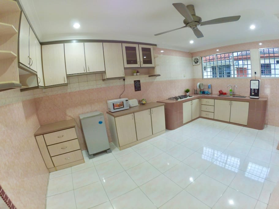 Kitchen completes with refrigerator, microwave oven, bread toaster, hot & cold water dispensers, utensils etc...
