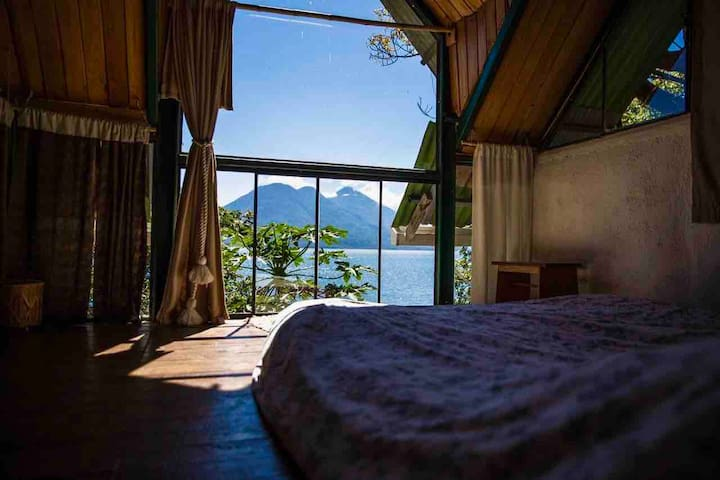 The view of Toliman and Atitlan volcanoes from your bed