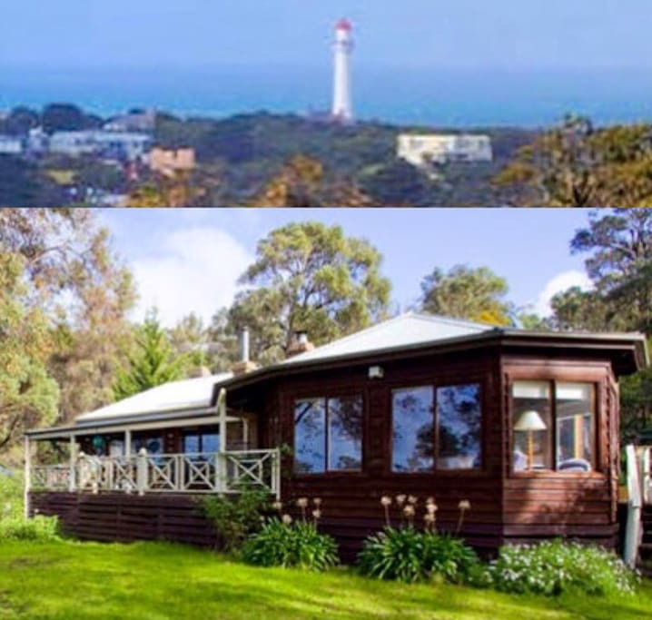 The bush house with fantastic views of the lighthouse and ocean.