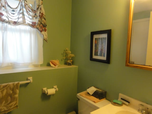 Spacious bathroom with toiletries, hairdryer. Clean, fresh towels and bedsheets for each new guest.