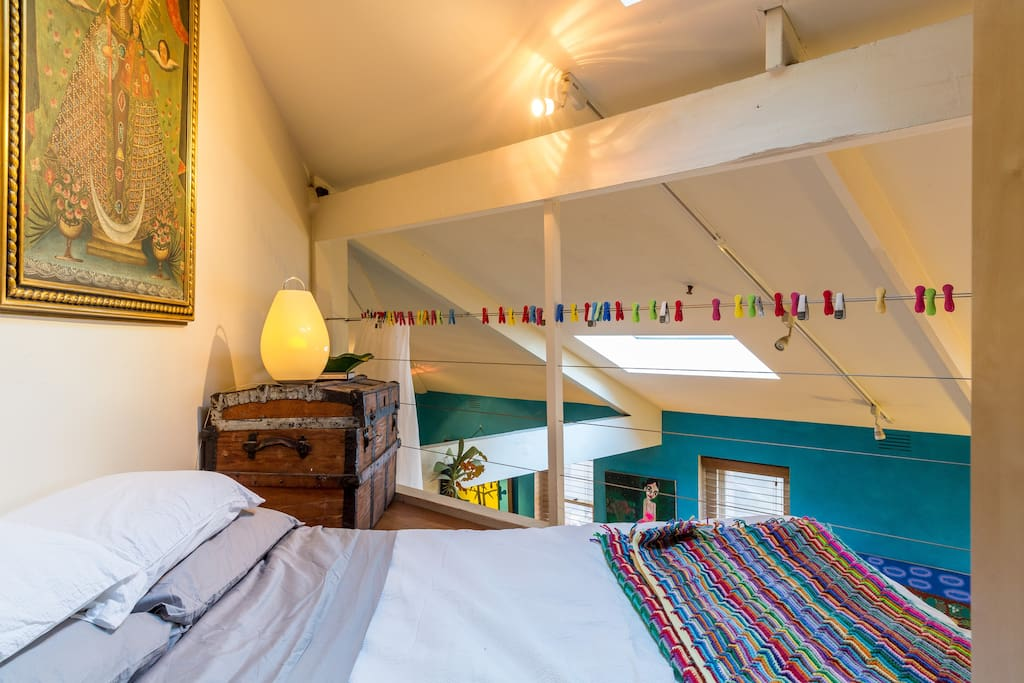 the loft. glamping at its best. very comfortable mattress on the floor. it can be folded back during the day to create more space.