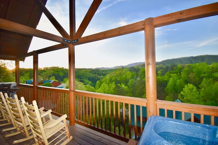Relax in the hot tub or just kick back in a rocking chair and drink your morning coffee while gazing over miles of unobstructed sunrise mountain views