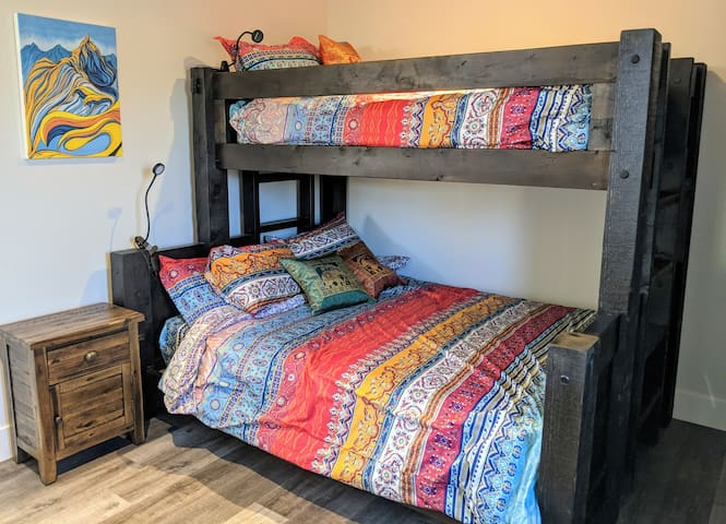 Our awesome Twin XL over Queen Bunk Beds!!  My favorite place to sleep.