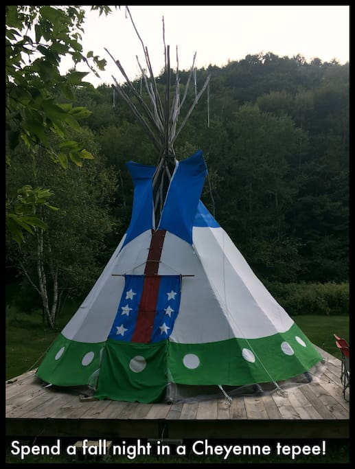 Book our home in September or October and 2 can stay in our authentic Cheyenne tepee for free. Choose your night any time in the next year.