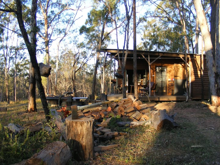 Hand crafted cabin in bush setting