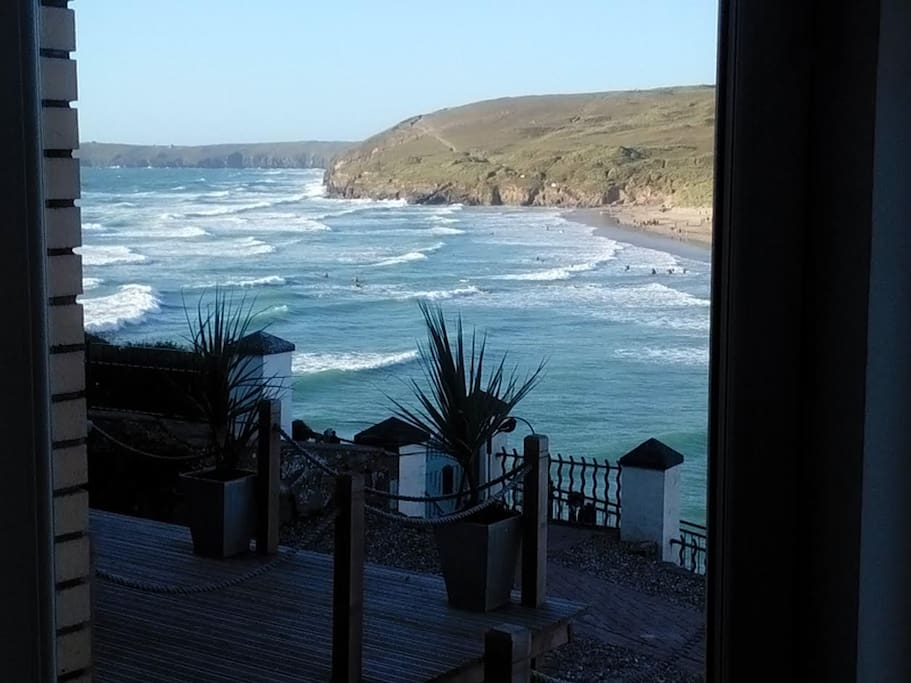 View of the magnificent Perranporth beach from the private decking of Bay Court Apartment