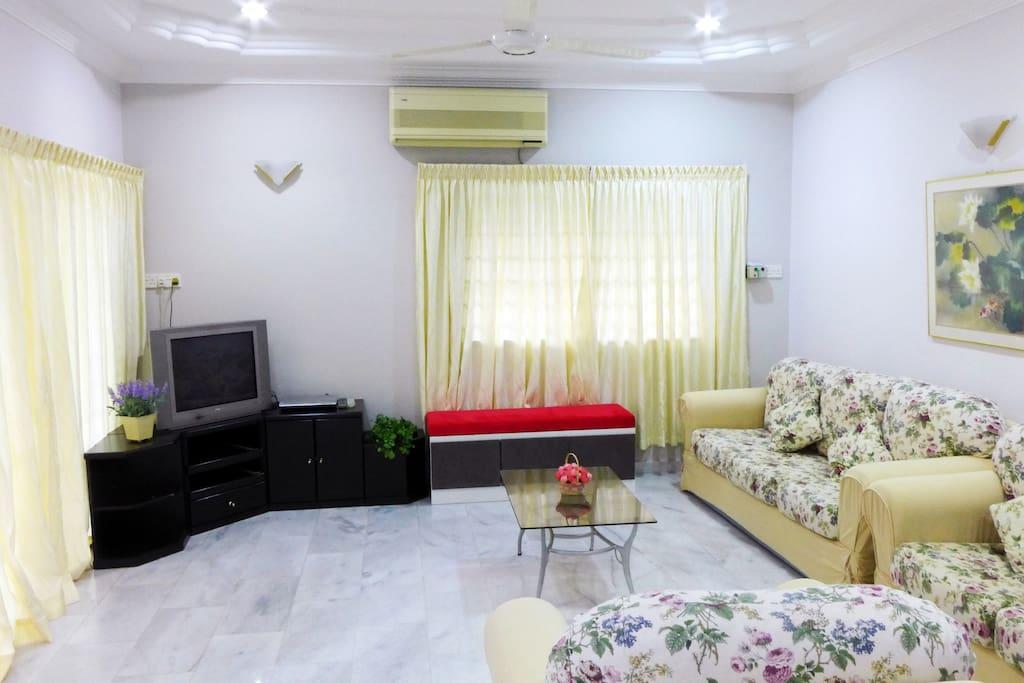 Spacious living room with comfortable sofas