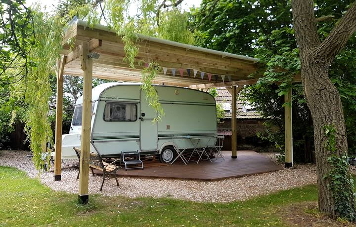 Retro 80's caravan in rural retreat