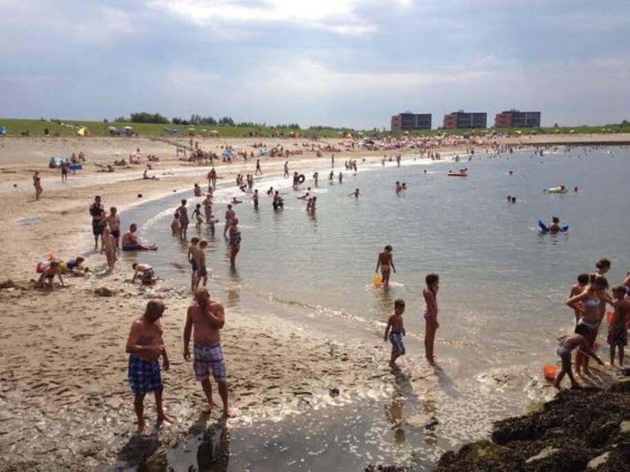 Strand op 50 meter afstand