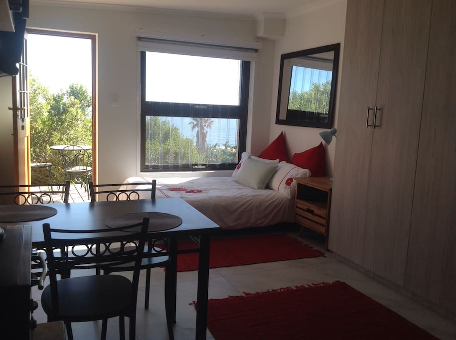 Double bed with fabulous sea views