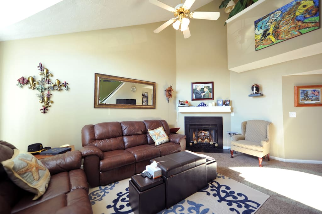 """Dual-Reclining love seat be dual-recliners in the sofa. Fireplace. 55"""" flatscreen with Netflix, FireStick, included"""