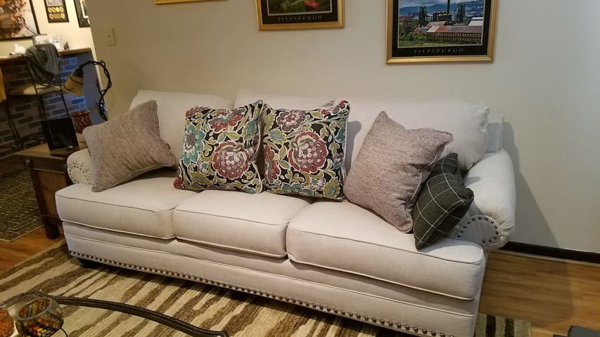 sofa bed,pulls out to a queen size mattress.