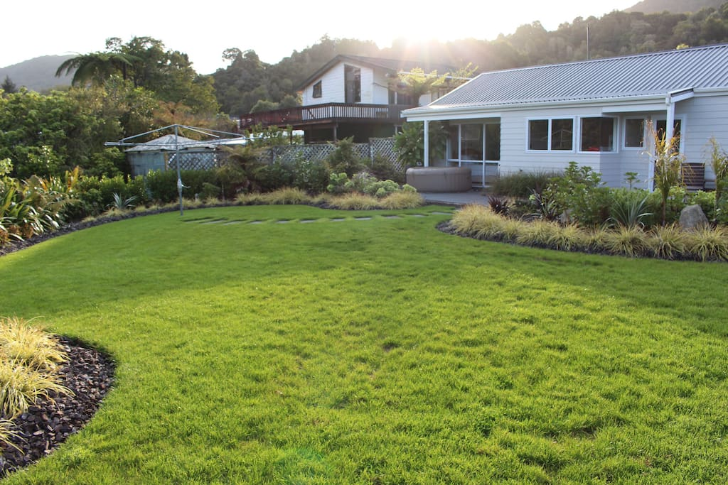 The rear lawn and garden