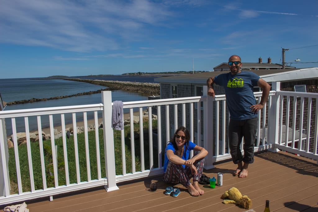 Construction finished in early summer 2017 for a BRAND NEW ROOF DECK!  This photo shows the view from roof deck during a get together we had with dear friends before our patio set was delivered.
