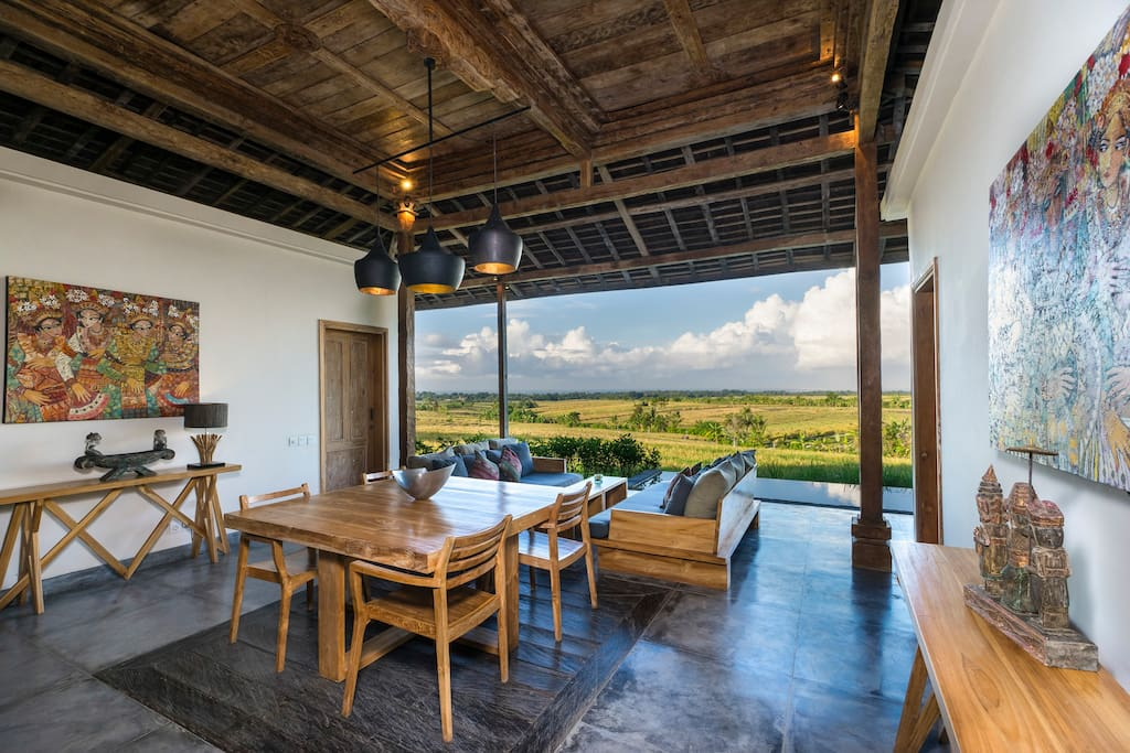 Living room surrounded by Rice fields & the Ocean