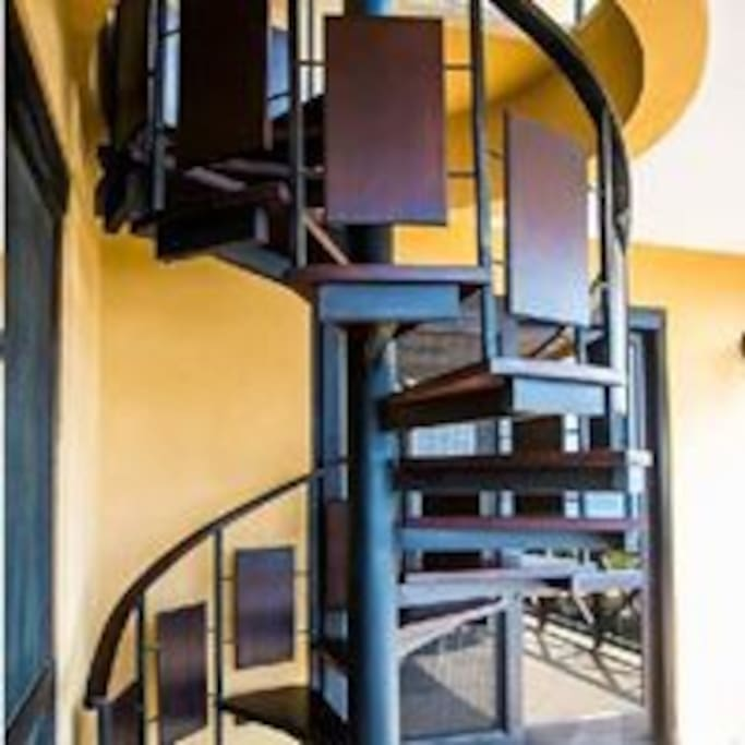 Spiral staircase connecting ocean balconies