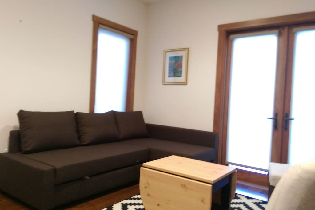 Living / dining area with queen sized sleeper sofa