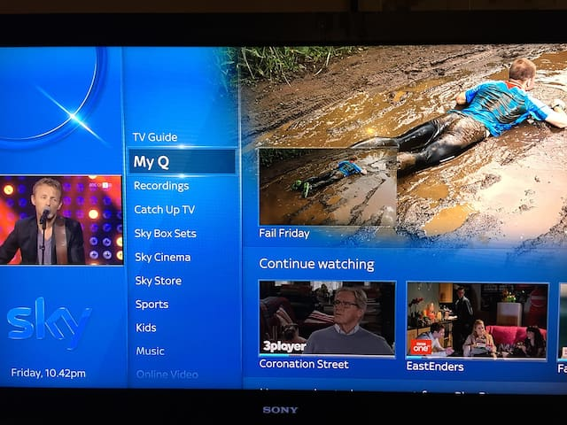 Sky Q TV - access Sky Sports,  movies, Atlantic etc.