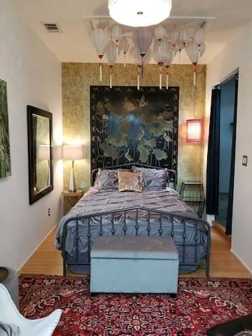 2nd intimate bedroom with queen size bed and access to master's full bathroom