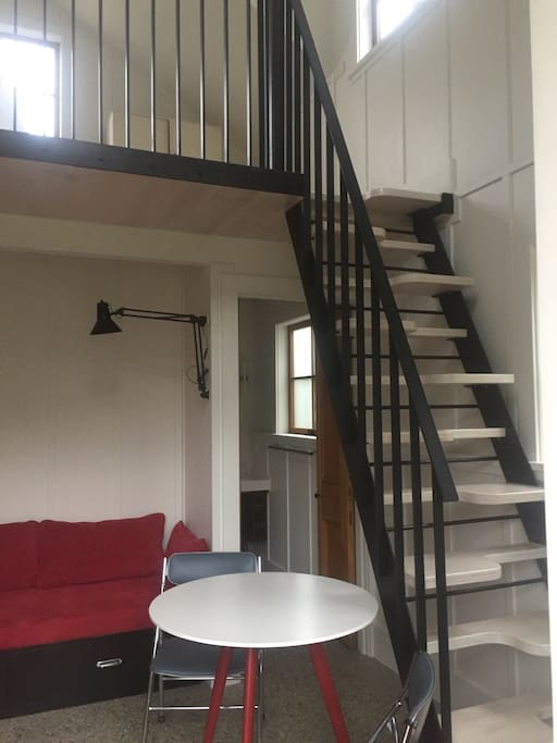 the stairs are like ships stairs very step easy to use. but strongly advise the use of the handrail